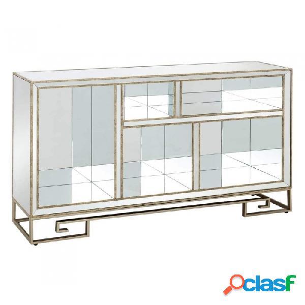 Estantería Plata Oro Cristal Metal Y Moderno 154.00 X 31.50