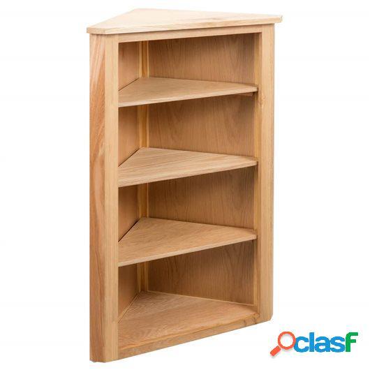 Estantería de esquina madera maciza de roble 59x36x100 cm