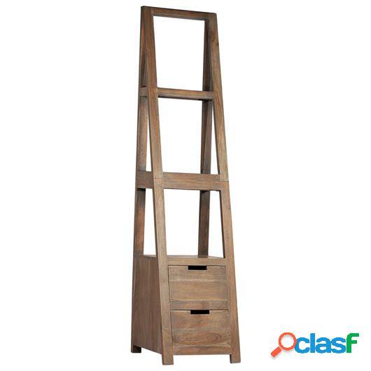 Estantería de madera maciza de acacia 40x45x175 cm gris