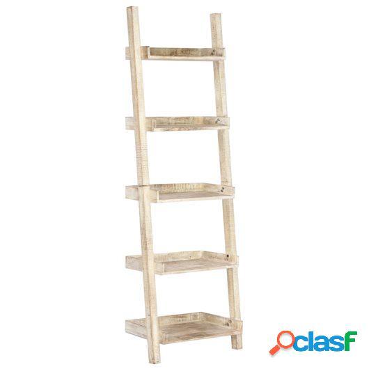 Estantería escalera blanca 75x37x205 cm madera maciza de