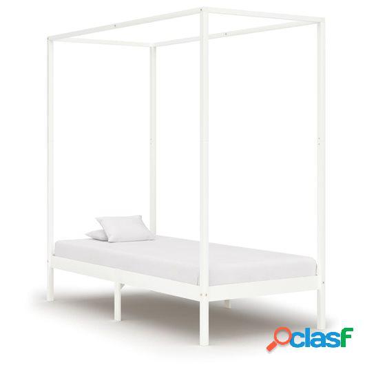Estructura cama con dosel madera maciza pino blanco 100x200
