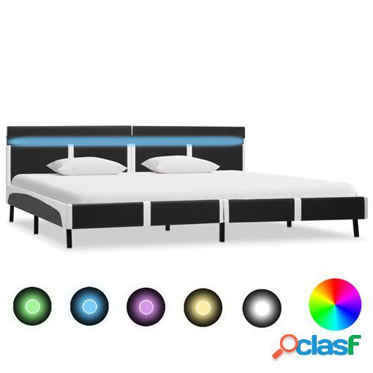 Estructura de cama con LED cuero sintético gris 180x200 cm