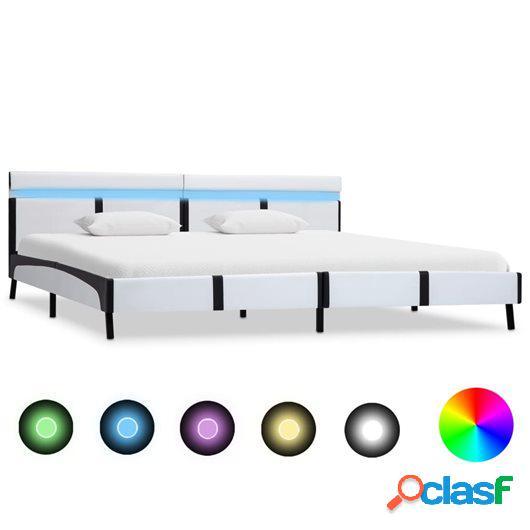 Estructura de cama con LED de cuero sintético blanco
