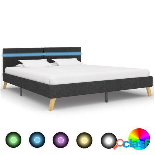 Estructura de cama con LED de tela gris oscuro 160x200 cm