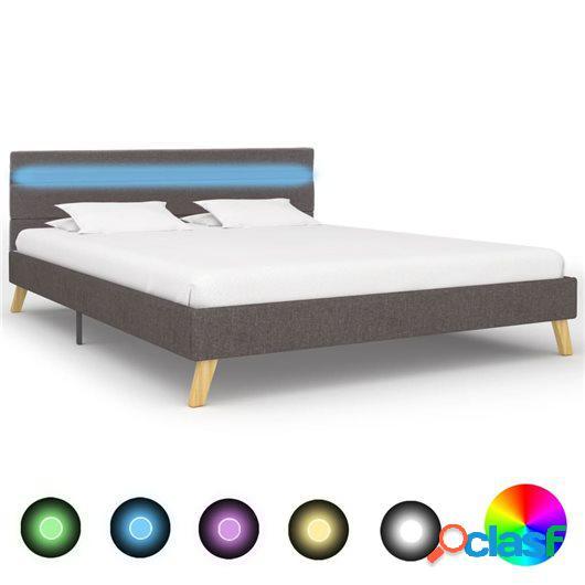 Estructura de cama con LED tela gris claro 140x200 cm