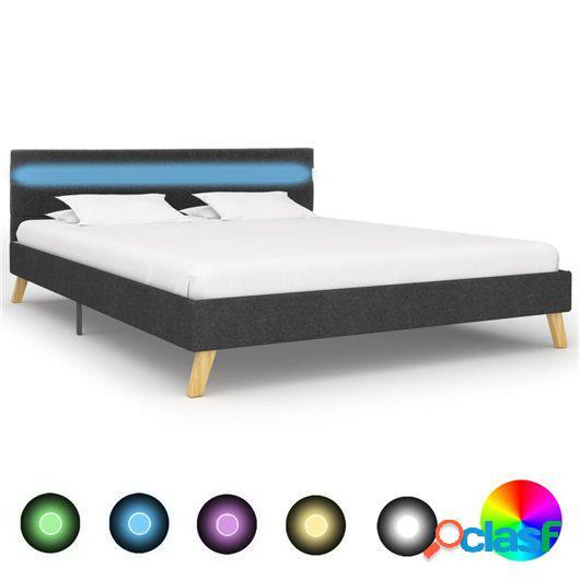 Estructura de cama con LED tela gris oscuro 140x200 cm