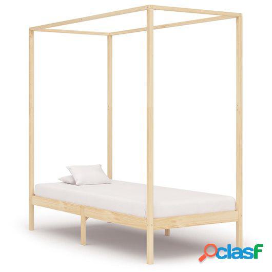 Estructura de cama con dosel madera maciza pino 90x200 cm