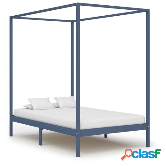 Estructura de cama con dosel madera maciza pino gris 120x200