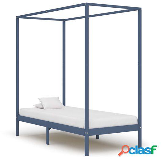 Estructura de cama con dosel madera maciza pino gris 90x200