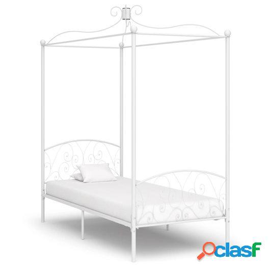 Estructura de cama con dosel metal blanco 90x200 cm