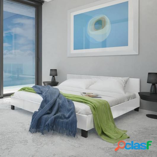 Estructura de cama de cuero artificial blanco 160x200 cm