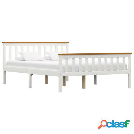 Estructura de cama de madera de pino maciza blanca 140x200