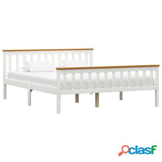 Estructura de cama de madera maciza de pino blanca 160x200