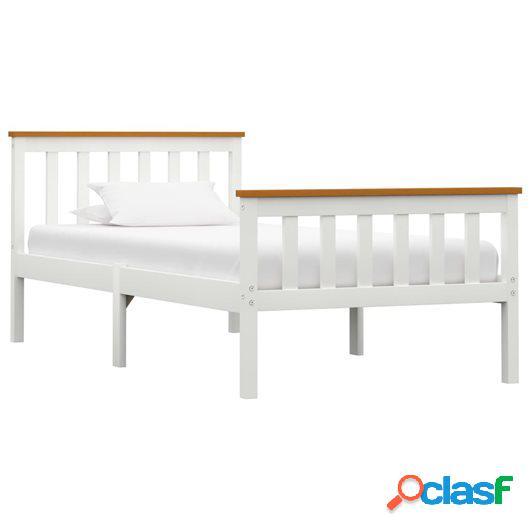 Estructura de cama de madera maciza de pino blanca 90x200 cm