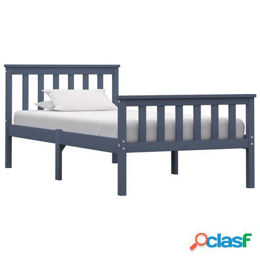 Estructura de cama de madera maciza de pino gris 100x200 cm