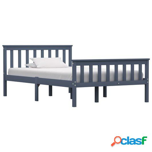 Estructura de cama de madera maciza de pino gris 120x200 cm