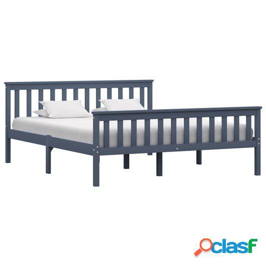 Estructura de cama de madera maciza de pino gris 160x200 cm
