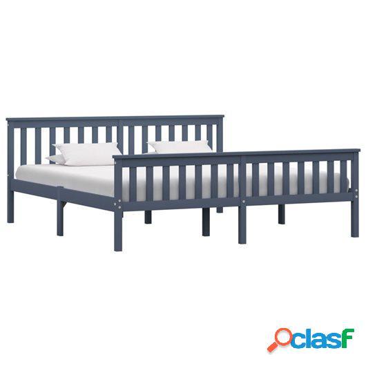 Estructura de cama de madera maciza de pino gris 180x200 cm