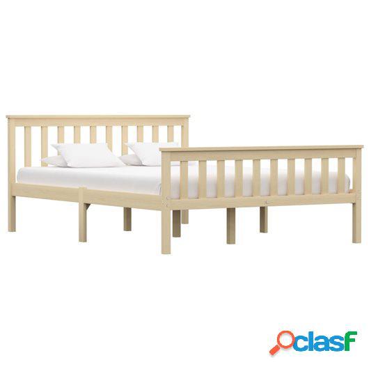 Estructura de cama de madera maciza de pino natural 140x200