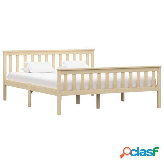 Estructura de cama de madera maciza de pino natural 180x200