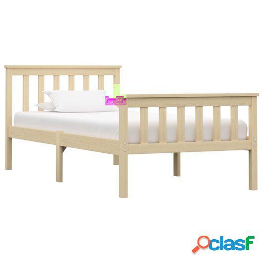 Estructura de cama de madera maciza de pino natural 90x200