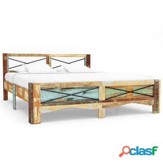 Estructura de cama de madera maciza reciclada 160x200 cm