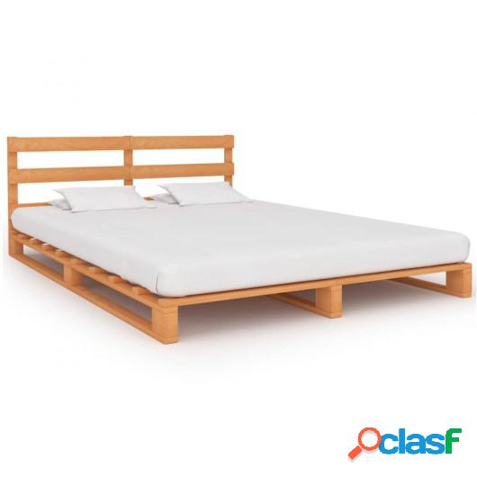 Estructura de cama de palés madera maciza pino marrón