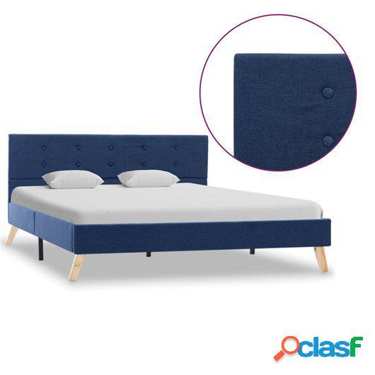 Estructura de cama de tela azul 140x200 cm