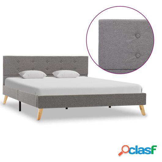Estructura de cama de tela gris claro 140x200 cm