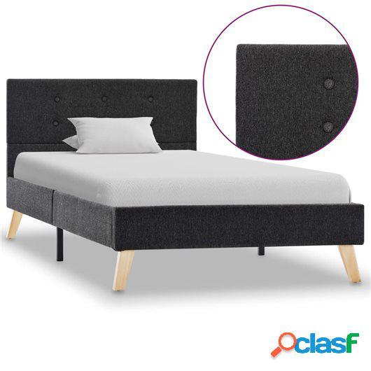 Estructura de cama de tela gris oscuro 100x200 cm