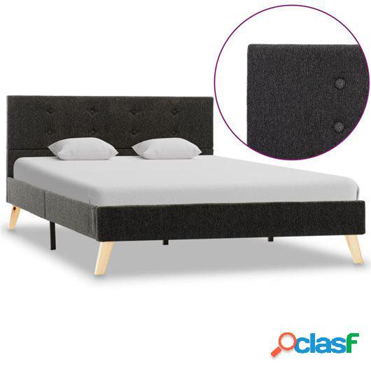 Estructura de cama de tela gris oscuro 120x200 cm