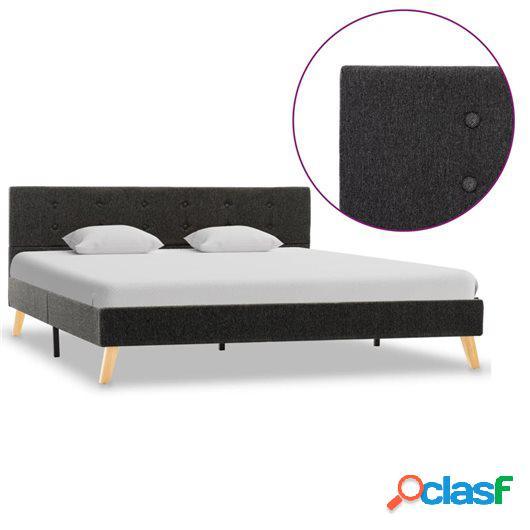 Estructura de cama de tela gris oscuro 160x200 cm