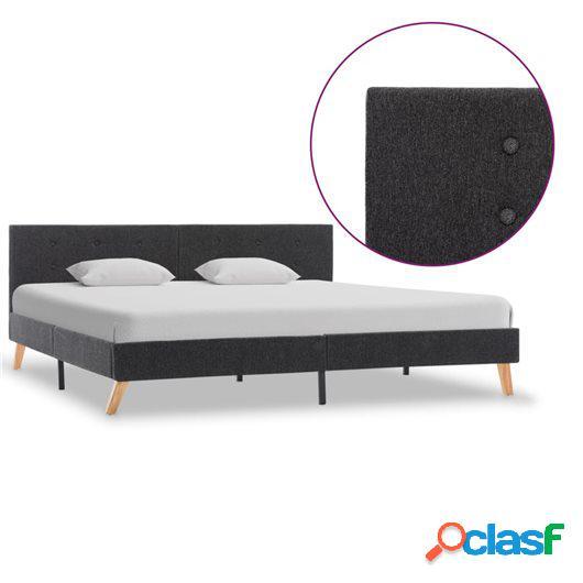 Estructura de cama de tela gris oscuro 180x200 cm