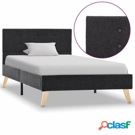 Estructura de cama de tela gris oscuro 90x200 cm