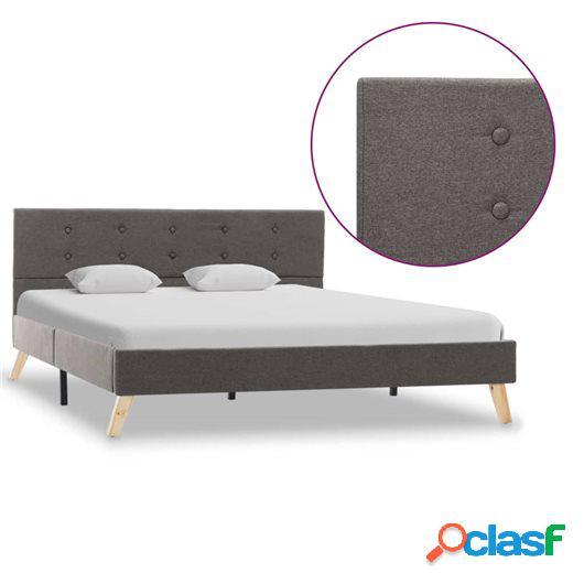 Estructura de cama de tela gris topo 140x200 cm