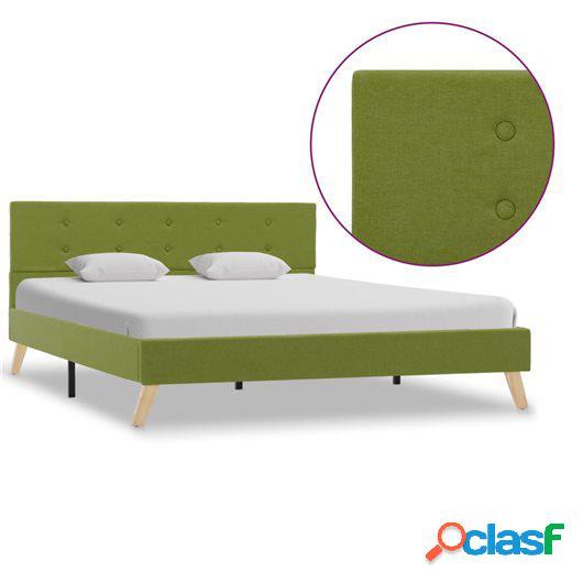 Estructura de cama de tela verde 140x200 cm