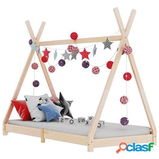 Estructura de cama infantil de madera maciza de pino 90x200