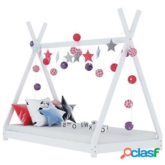 Estructura de cama infantil madera maciza pino blanca 90x200
