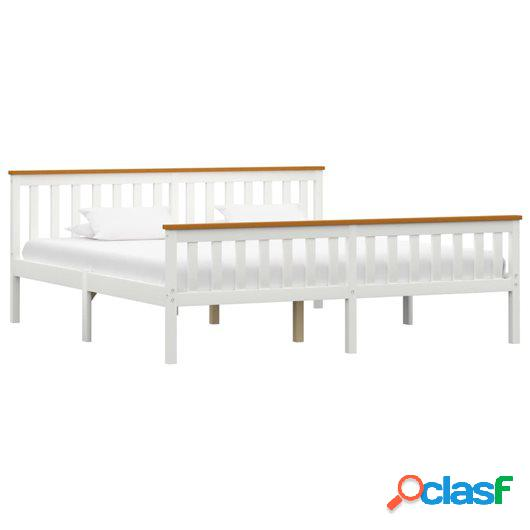 Estructura de cama madera de pino maciza blanca 180x200 cm