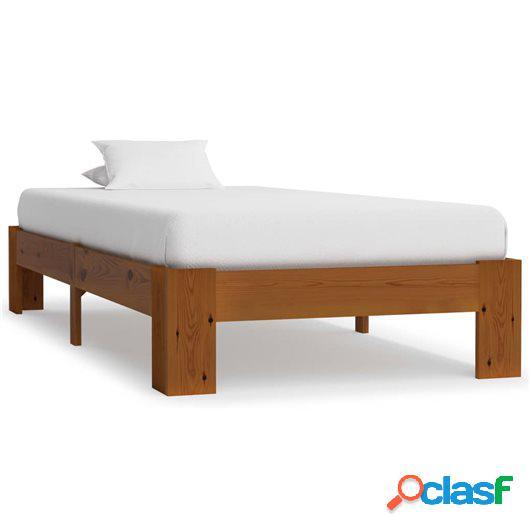Estructura de cama madera maciza pino marrón claro 100x200