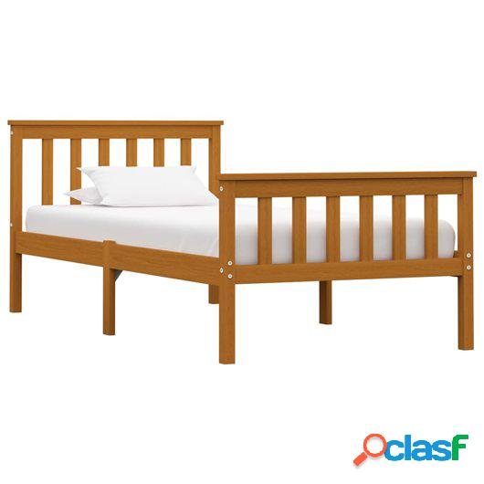 Estructura de cama madera maciza pino marrón miel 90x200 cm