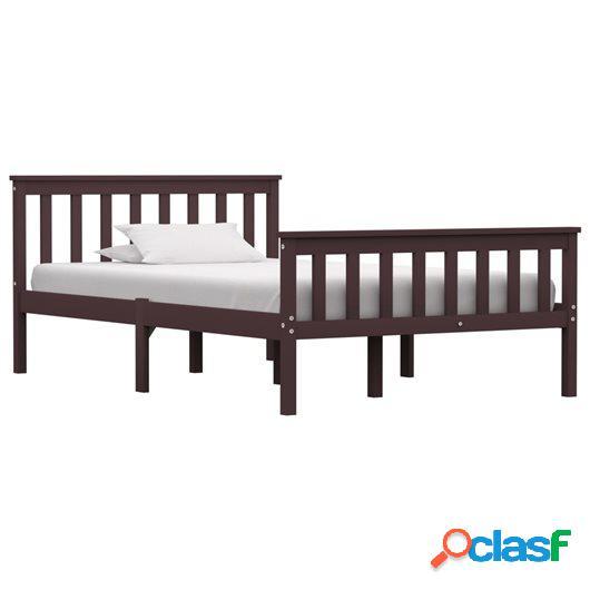 Estructura de cama madera maciza pino marrón oscuro 120x200