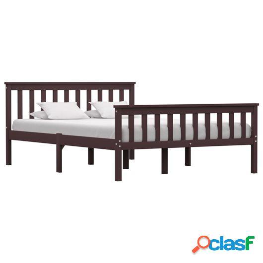 Estructura de cama madera maciza pino marrón oscuro 140x200