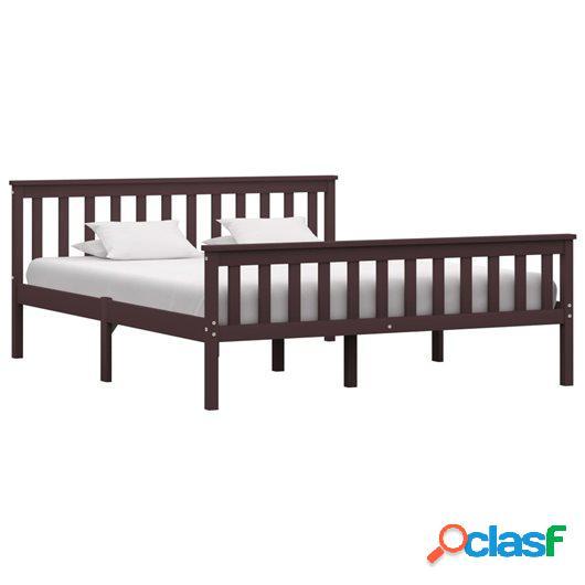 Estructura de cama madera maciza pino marrón oscuro 160x200