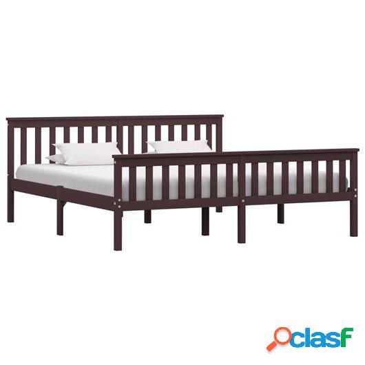 Estructura de cama madera maciza pino marrón oscuro 180x200
