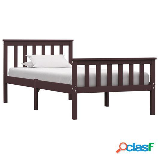 Estructura de cama madera maciza pino marrón oscuro 90x200