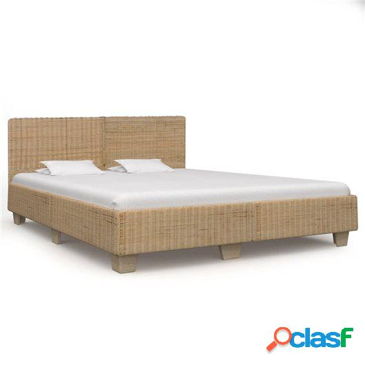 Estructura de cama tejida a mano de ratán auténtico