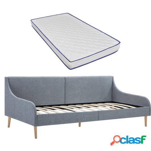 Estructura sofá cama con colchón viscoelástico tela gris