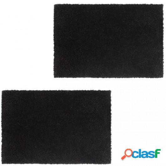 Felpudo de fibra de coco negro 2 unidades 17 mm 50x80 cm