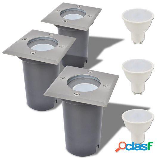 Focos LED empotrables de suelo para exteriores 3 unids